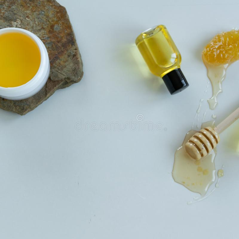 Skin care products with honey. Healthy organic remedy. Superfood for the skin royalty free stock photography