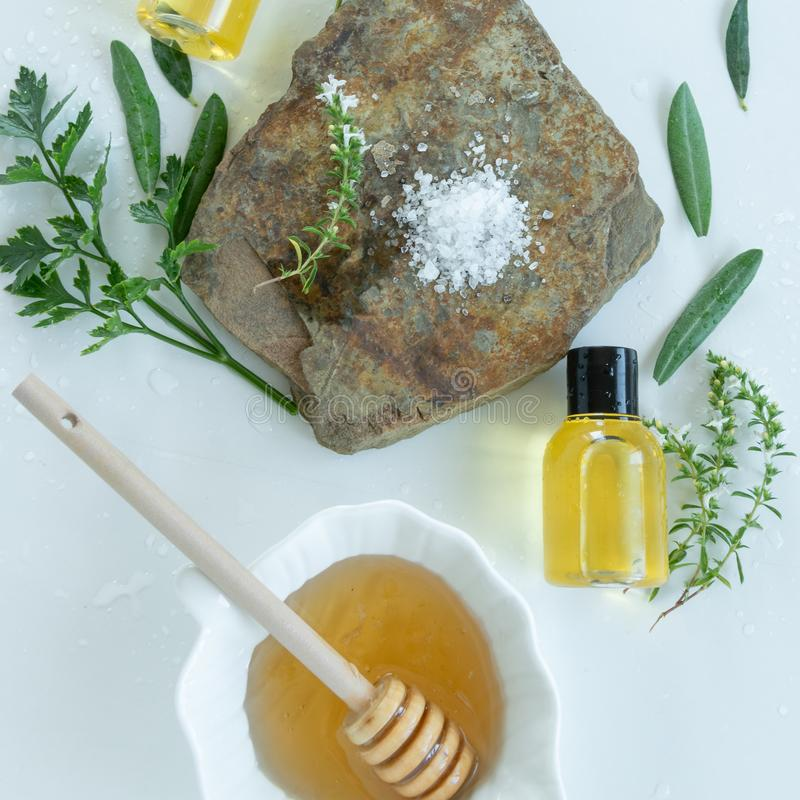 Skin care products with natural products and extracts . Healthy organic remedy. Superfood for the skin royalty free stock photos