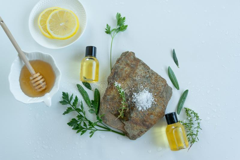 Skin care products with natural products and extracts . Healthy organic remedy. Superfood for the skin royalty free stock photography