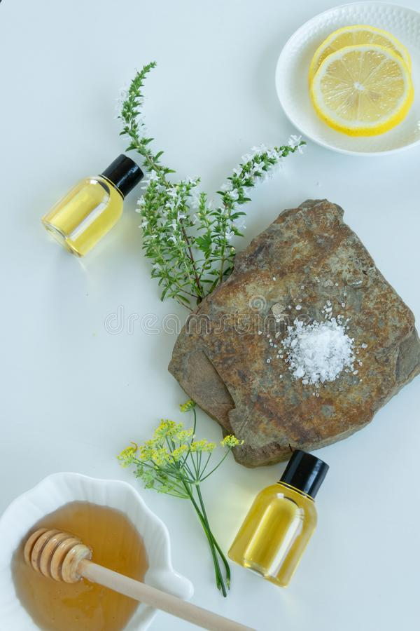 Skin care products with natural products and extracts . Healthy organic remedy. Superfood for the skin royalty free stock photo