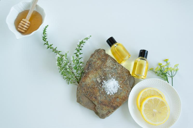 Skin care products with natural products and extracts . Healthy organic remedy. Superfood for the skin stock photos