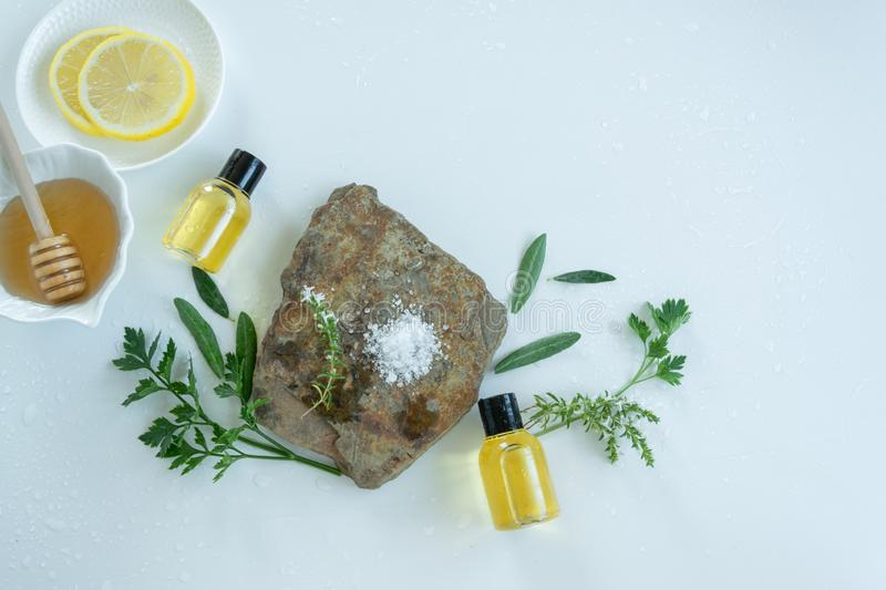 Skin care products with natural products and extracts . Healthy organic remedy. Superfood for the skin stock image