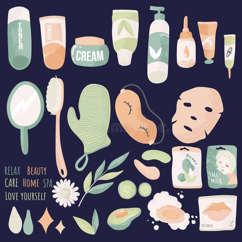 Free Skin Care Routine Icons. Vector Set Of Face And Body Care. Various Beauty SPA Objects Isolated On Blue. Stock Photography - 191747032
