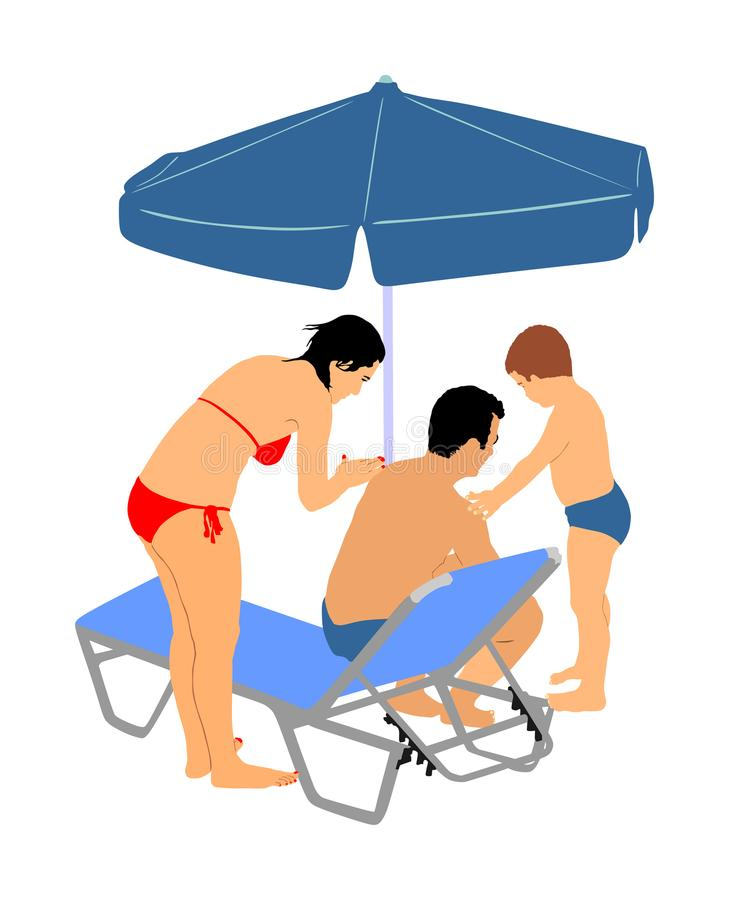 Skin care sun protection family, mother and son applying sunscreen on fathers shoulders and back. Skin care sun protection family, mother and son applying stock illustration