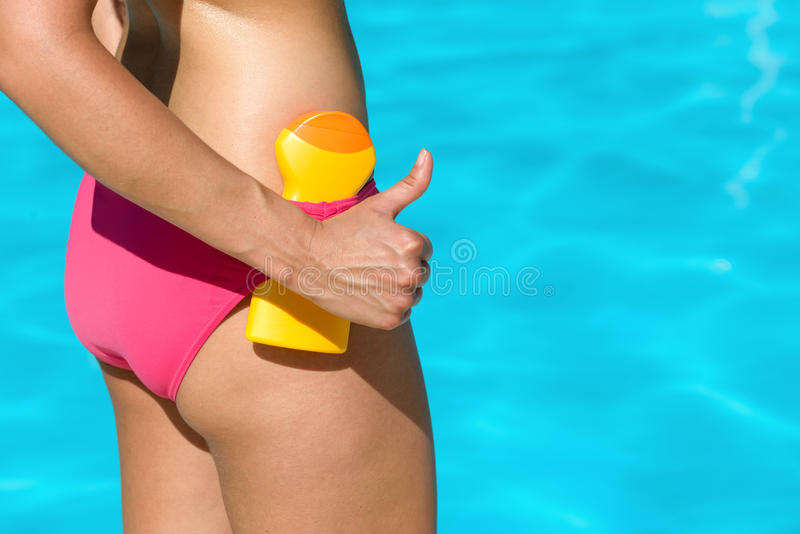 Skin care with sunscreen on summer stock images