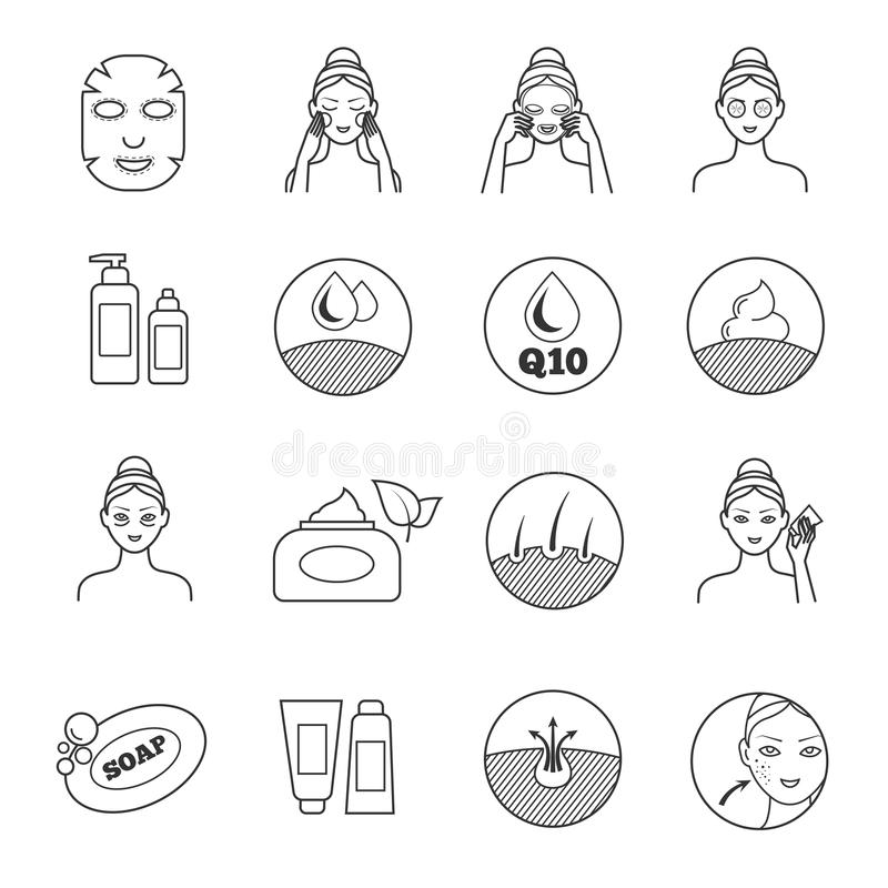Skin care vector icons. Prevention of aging and eliminating of wrinkle pictograms. Cosmetic skin care, illustration of prevention of skin aging vector illustration