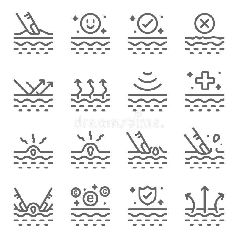 Skin Care Vector Line Icon Set Enthält Icons wie Moisturizing, Akne, Dermatologie, Vitamin, Hautpflege und mehr Erweiterter Stro lizenzfreie abbildung
