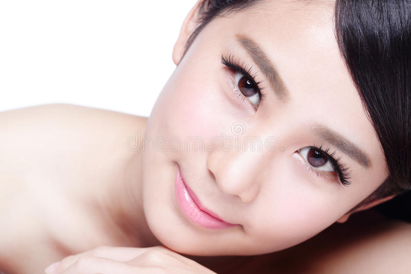 Skin care woman Smile face stock photo