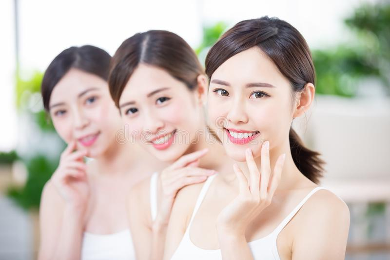 Skin care women smile happily. Skin care asian women smile happily to you stock photography