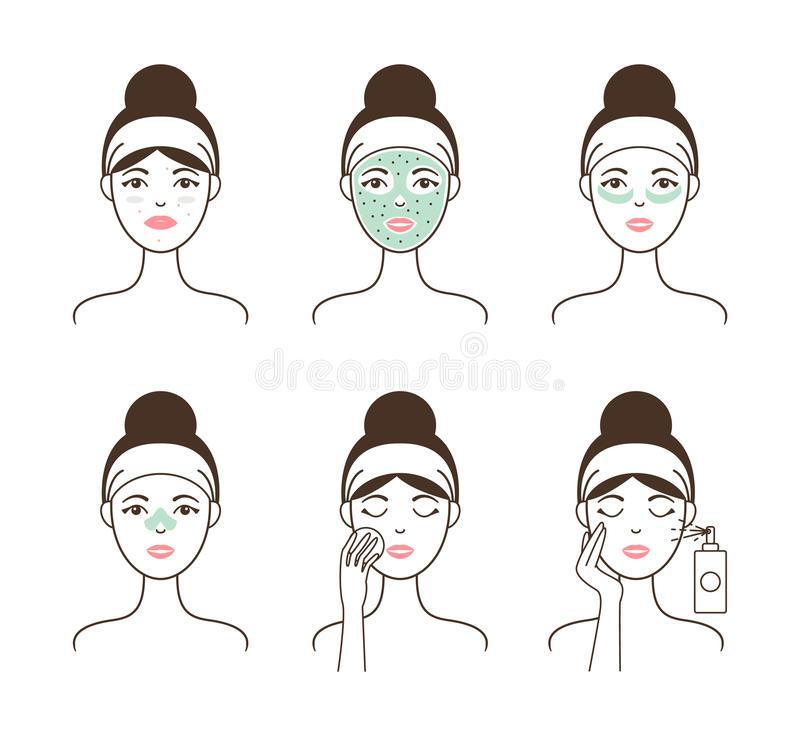 Skin Cleansing with Natural Mask and Patches Set. Skin cleansing with natural mask and patches shown on female model step by step isolated cartoon flat vector stock illustration