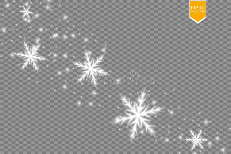 Skin den vita snöflingan med blänker isolerat på genomskinlig bakgrund Julgarnering med glänsande mousserande ljus vektor illustrationer