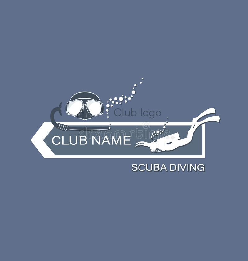 Skin-diver and mask breathing tube. Scuba diving. The emblem, the logo of the club on a gray background. Design for thematic sites, shops, service centers. The royalty free illustration