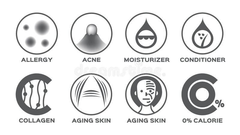 Skin icon set / allergy acne moisturizer hair conditioner collagen aging 0% calorie. On white stock illustration