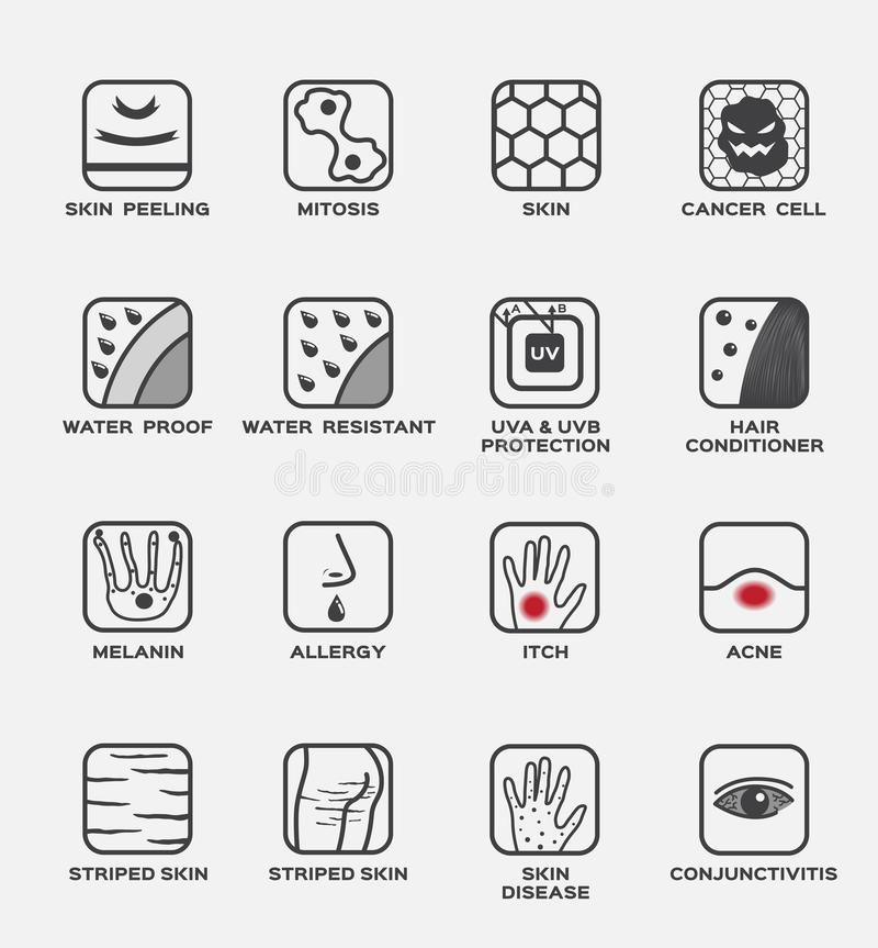Skin icon and set / peeling mitosis cancer cell water proof resistant uv protection hair conditioner melanin allergy itch a. Cne striped disease conjunctivitis stock illustration