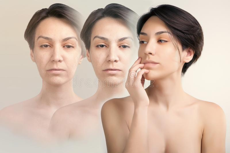 face lifting and old skin problems concept portrait of young asian model royalty free stock photos