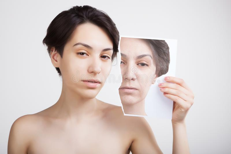 face lifting and old skin problems concept portrait of young asian model royalty free stock photography