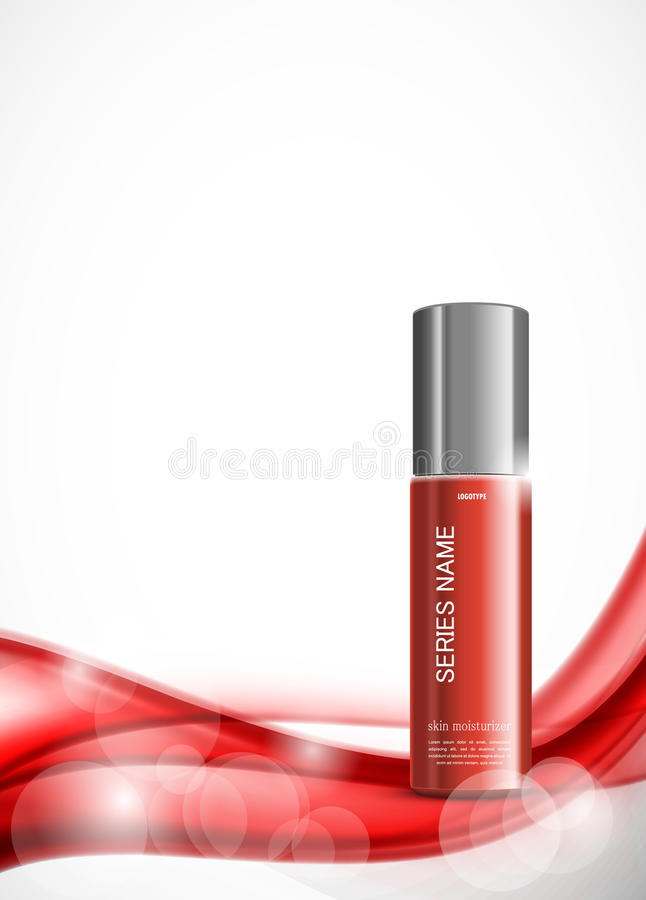 Skin moisturizer cosmetic ads template. With red realistic package on bright soft wavy dynamic lines background. Vector illustration stock illustration