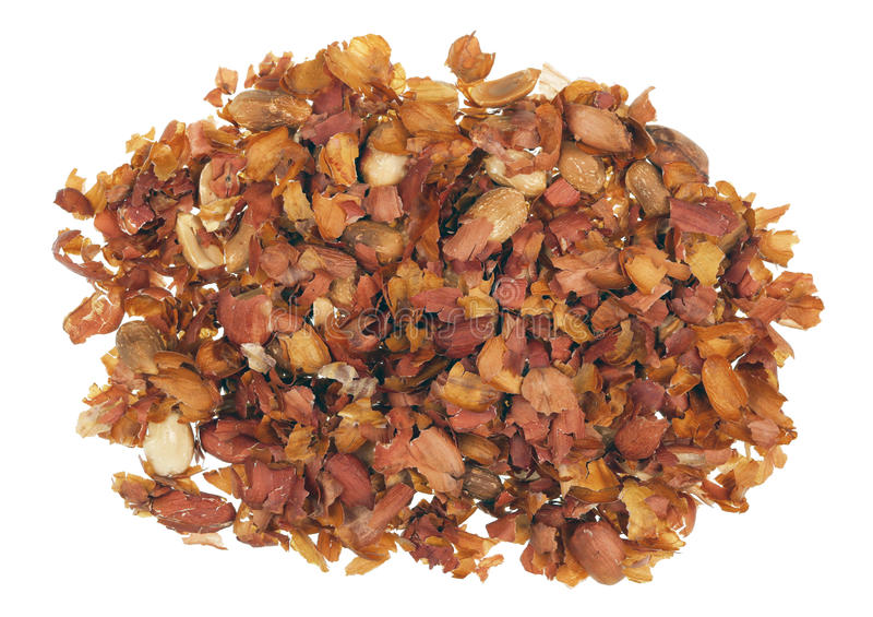 Skin peels from fried peanut nuts royalty free stock photo