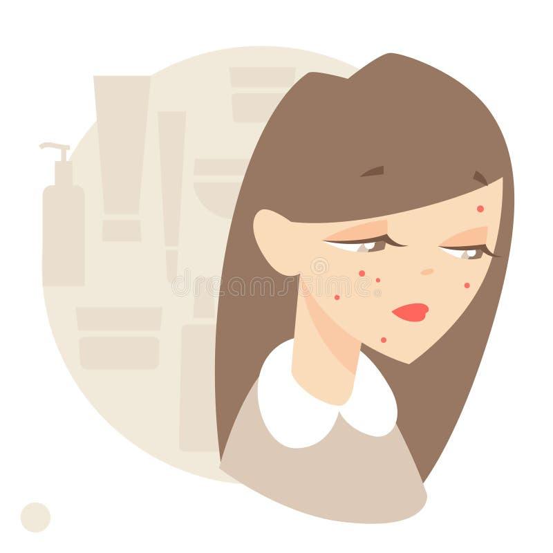 Skin problems, acne vector illustration
