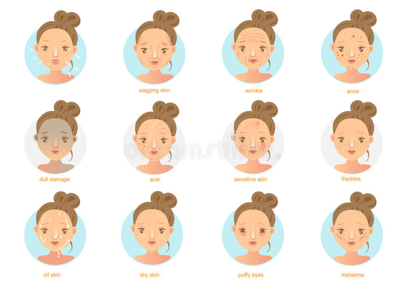 Skin Problems. Cartoon isolated on white background .Vector illustrations stock illustration