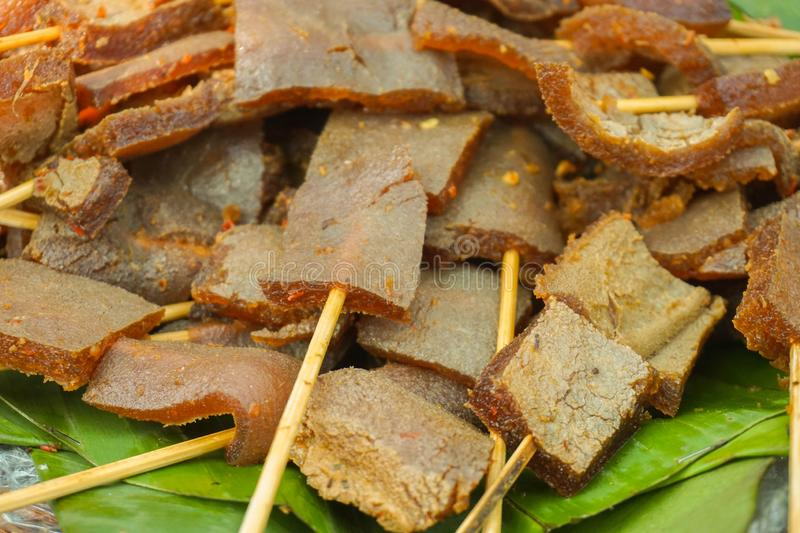 Skin sate satay closed up traditional food served in banana leaf stock image