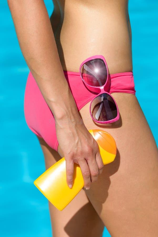 Skin summer sunscreen protection stock photo