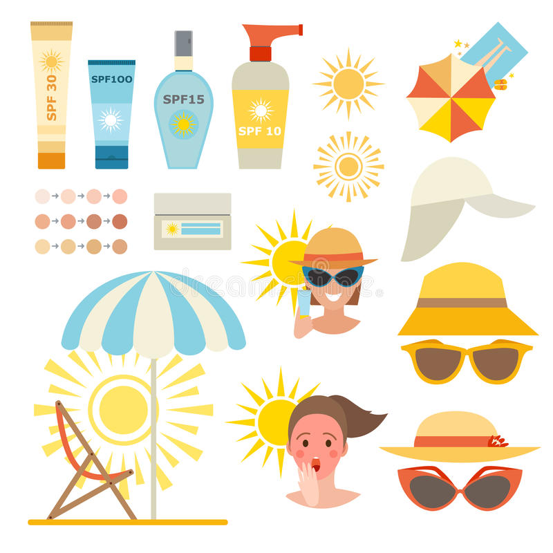 Skin sun protection cancer body prevention infographic vector icons. Care cream skin protection and beauty skin protection lotion. Skin summer protection, health
