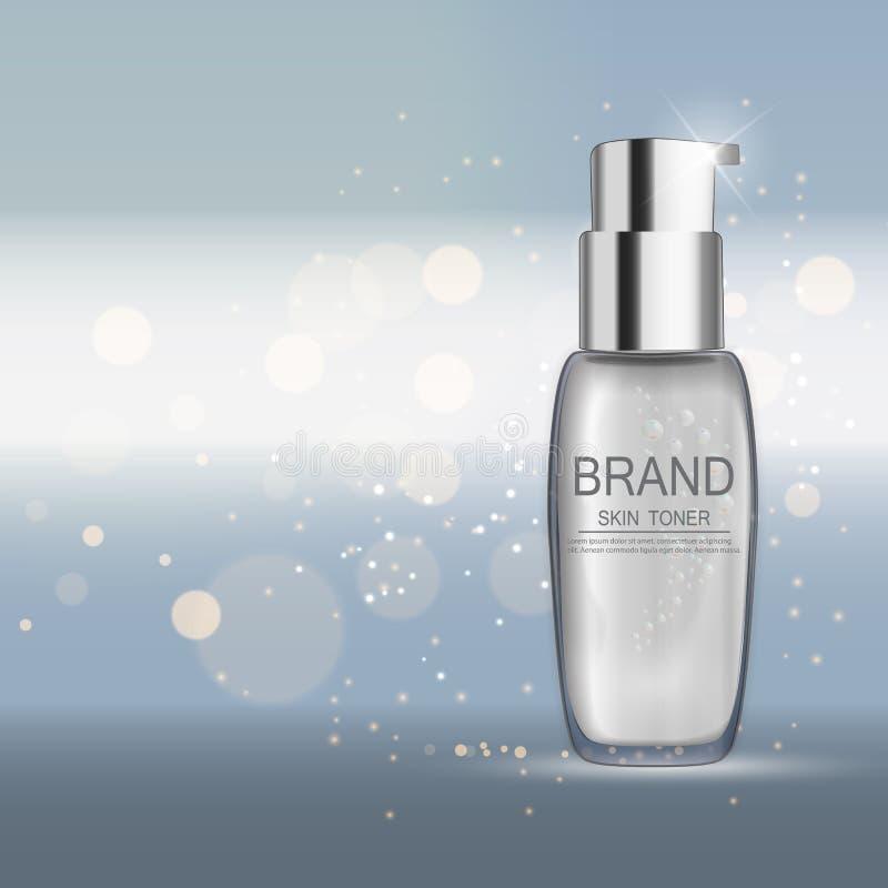 Skin Toner Bottle Template for Ads or Magazine Background. 3D Re royalty free illustration