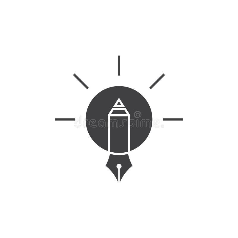 Skin vektorn för symbolet för designen för den ljusa kulan för blyertspennan den idérika stock illustrationer