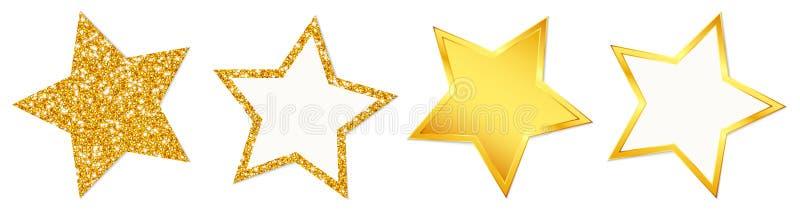 Skina för brusande för 4 stjärnor som är guld- vektor illustrationer