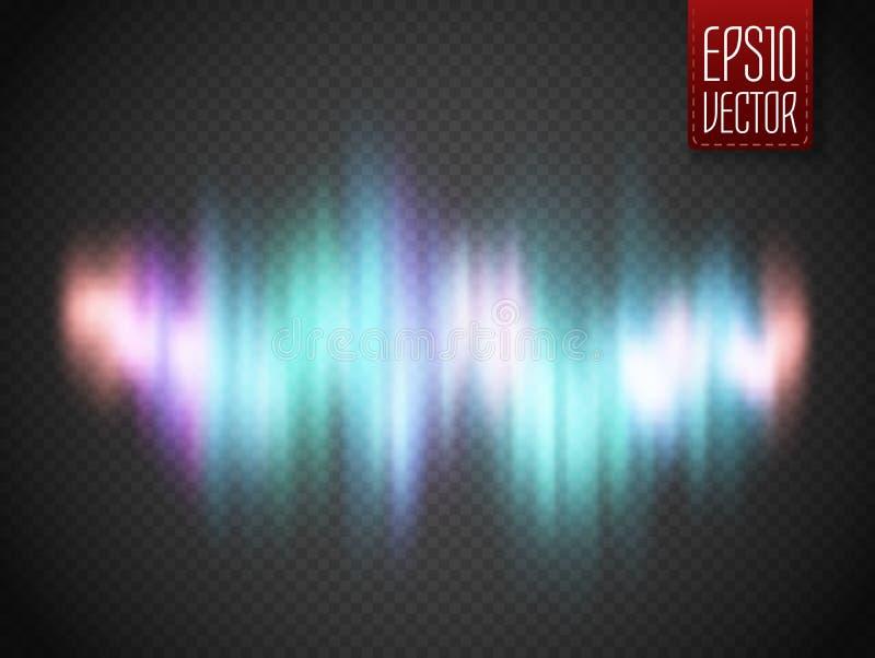 Skinande bakgrund för abstrakt vektor med den färgrika solida vågen för glöd stock illustrationer