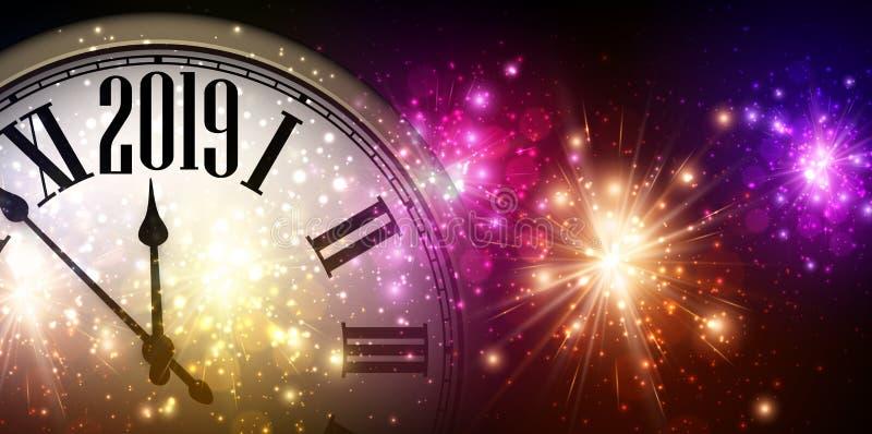 Skinande bakgrund för nytt år 2019 med klockan och fyrverkerier royaltyfri illustrationer