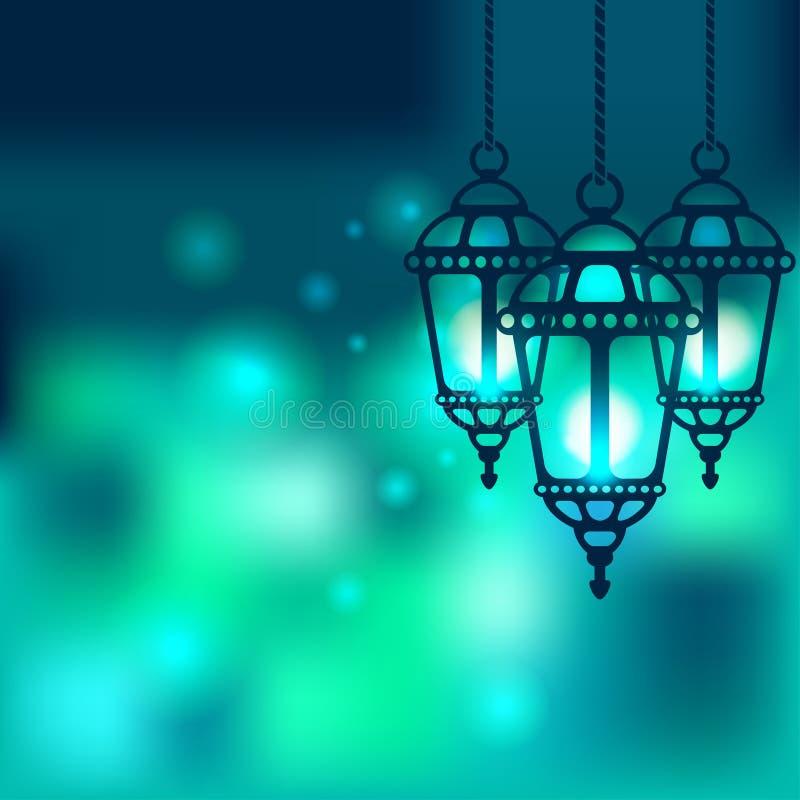Skinande bakgrund för Ramadanlykta royaltyfri illustrationer
