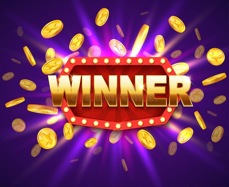 Skinande baner för vinnare med brinnande lampor och mynt För jackpottpris för lotteri modig bakgrund royaltyfri illustrationer