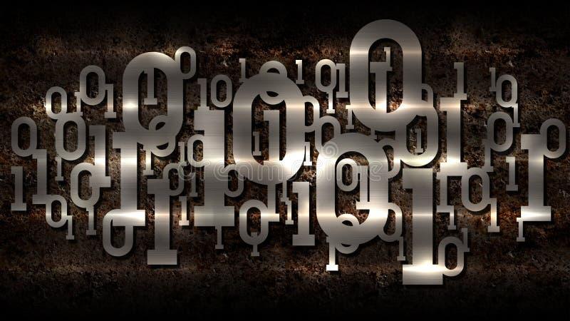 Skinande binär kod för metall, rostad digital binär kod för mörk bakgrund, stora data, molnservice, matris, konstgjord intelligen stock illustrationer