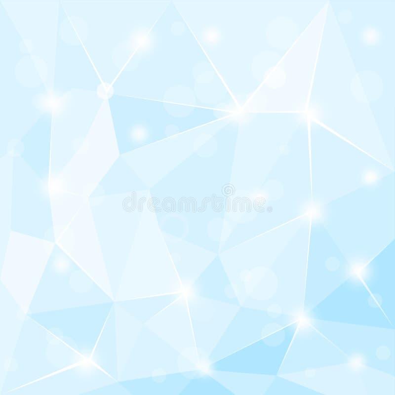 Skinande blå bakgrund för abstrakt polygonal geometrisk fasett vektor illustrationer