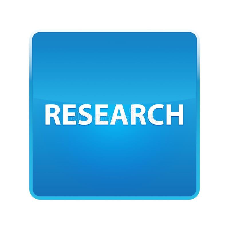 Skinande blå fyrkantig knapp för forskning stock illustrationer