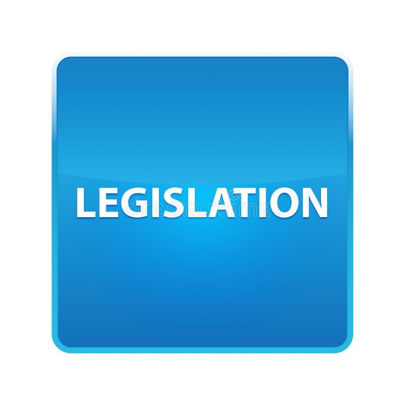 Skinande blå fyrkantig knapp för lagstiftning stock illustrationer