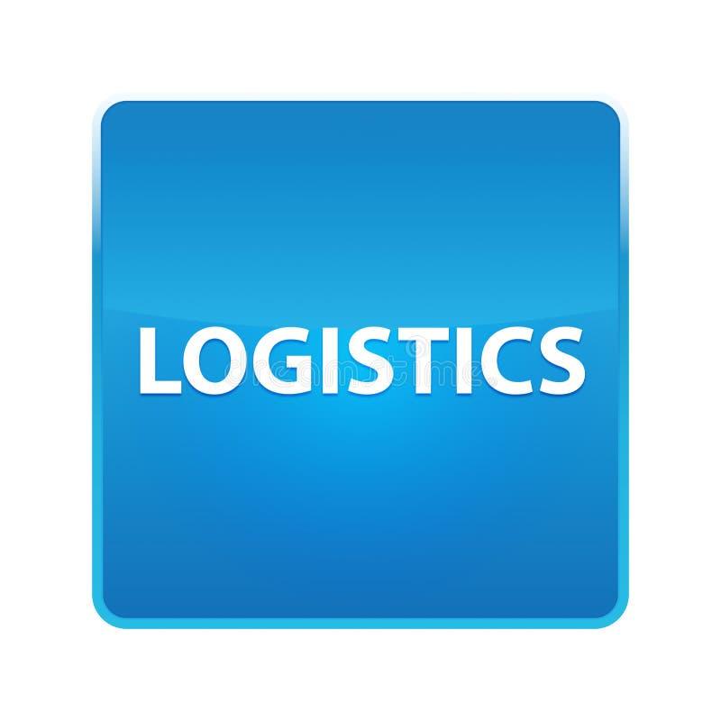 Skinande blå fyrkantig knapp för logistik stock illustrationer