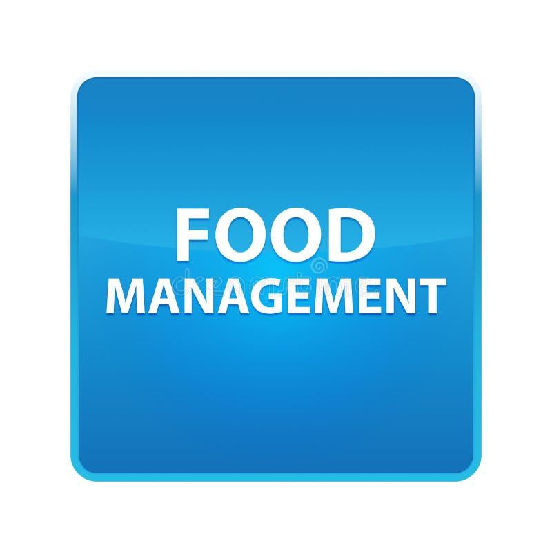 Skinande blå fyrkantig knapp för matledning stock illustrationer