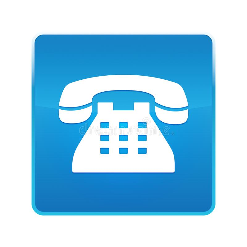 Skinande blå fyrkantig knapp för telefonsymbol vektor illustrationer