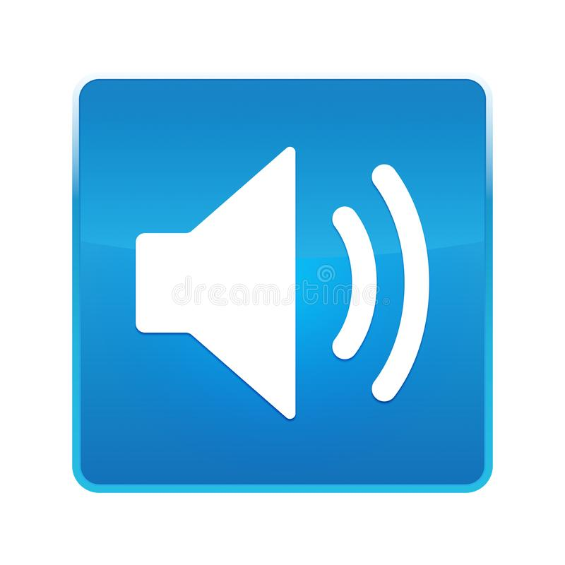 Skinande blå fyrkantig knapp för volymhögtalaresymbol stock illustrationer