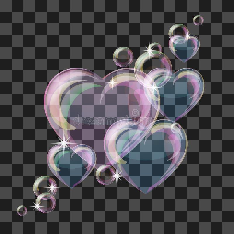 Skinande bubblahjärta royaltyfri illustrationer