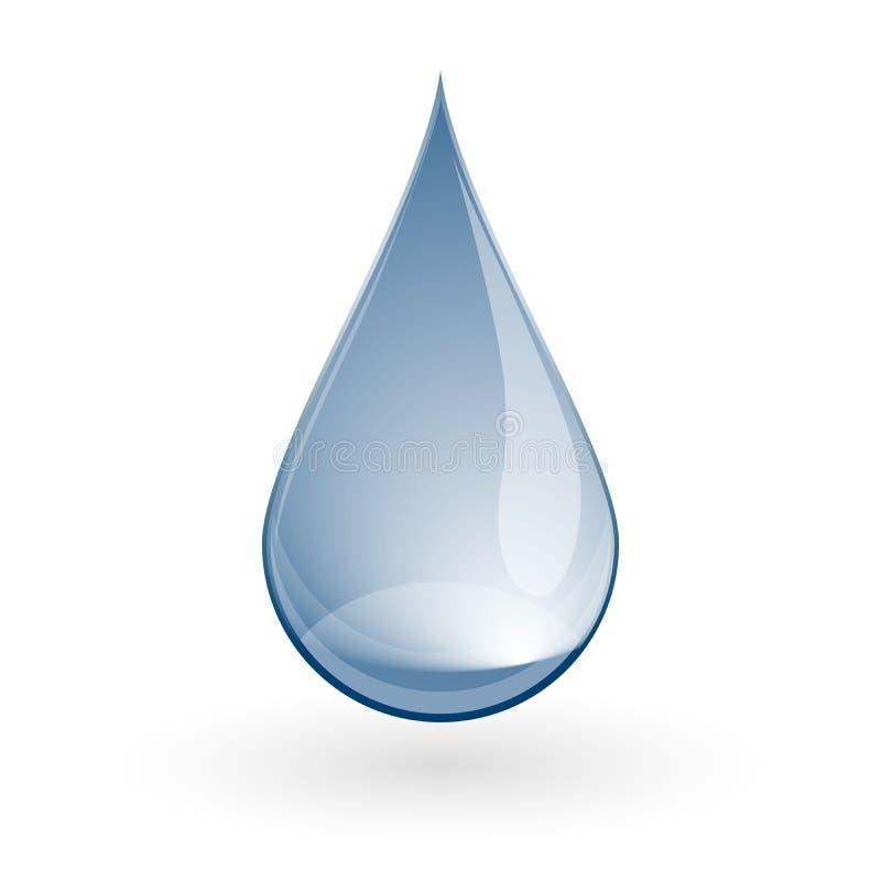 Skinande droppe för blått vatten på vit också vektor för coreldrawillustration stock illustrationer