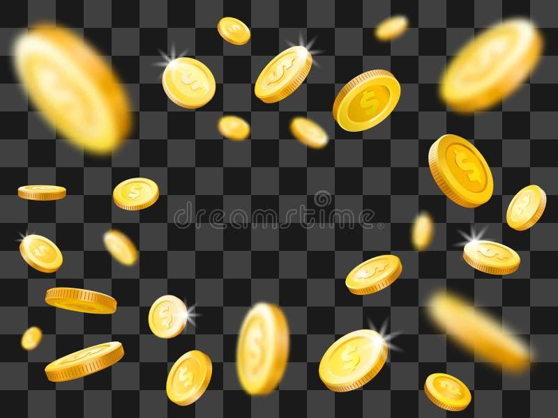 Skinande explosion för guld- mynt fallande pengar Vektorillustrationbegrepp vektor illustrationer
