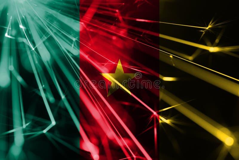 Skinande fyrverkerier för Kamerun som mousserar flaggan För partibegrepp för nytt år 2019 och för jul futuristisk skinande flagga vektor illustrationer