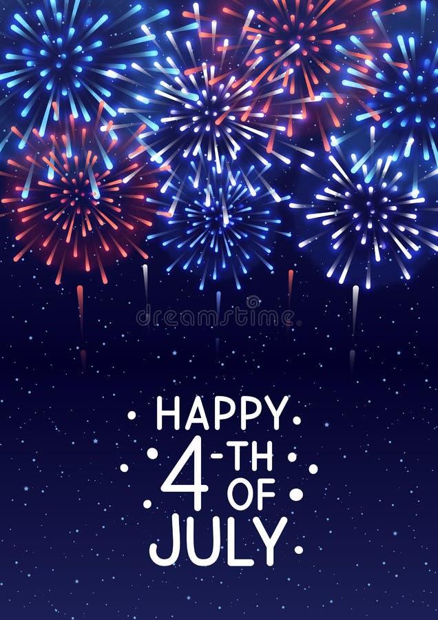 Skinande fyrverkerier på stjärnklar himmelbakgrund för självständighetsdagendesign royaltyfri illustrationer