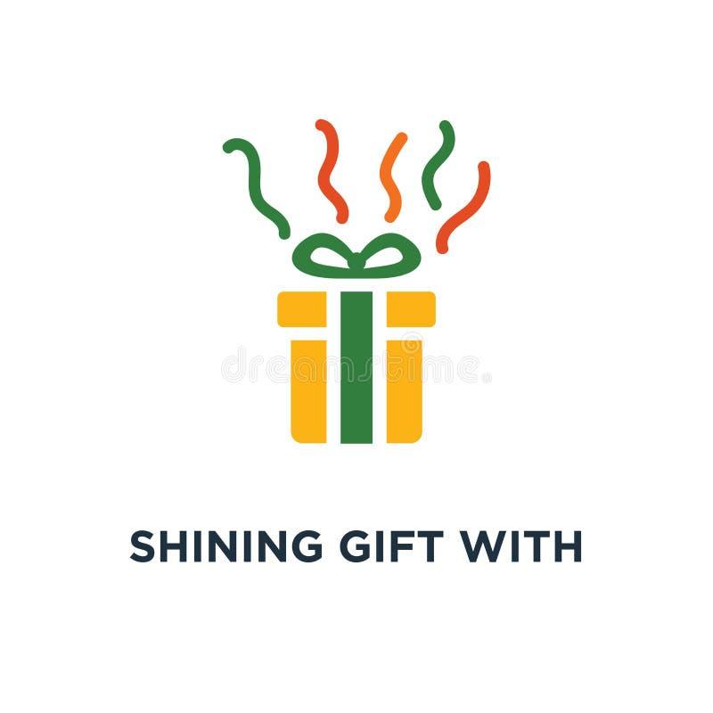 skinande gåva med stjärnasymbolen närvarande ask med designen för bandbegreppssymbol som förvånar den stora gåvan, belöningprogra stock illustrationer