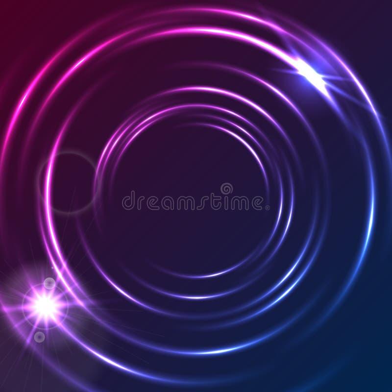 Skinande gl?dande bakgrund f?r f?rgrika cirklar f?r neon abstrakt royaltyfri illustrationer