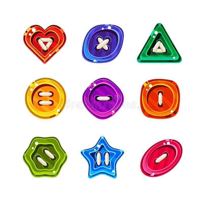 Skinande glansiga färgrika knappar, vektoruppsättning royaltyfri illustrationer